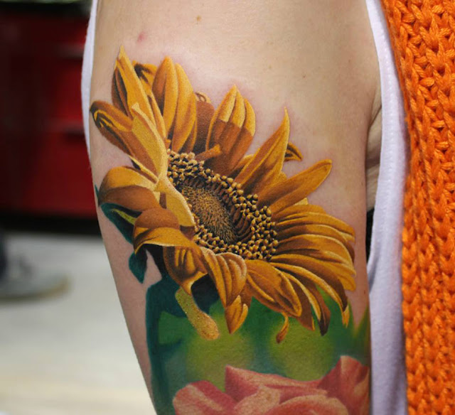 Colorful Sunflower Tattoo on Arm