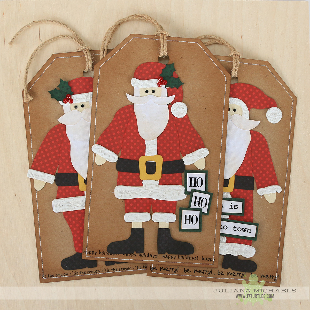 Santa Gift Tags and Paper Piecing using 17turtles Digital Cut Files by Juliana Michaels