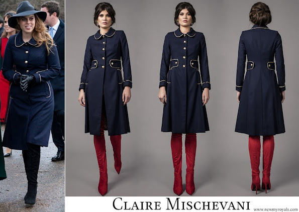 Princess Beatrice wore Claire Mischevani Navy Gold Coat Dress