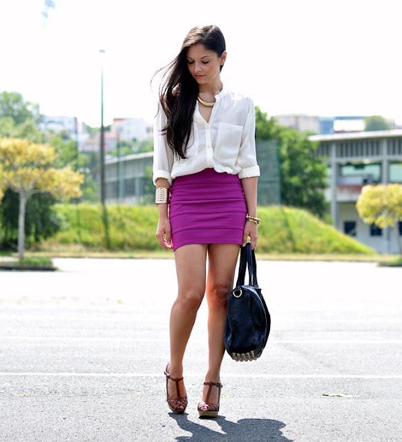 camisa branca saia colorida