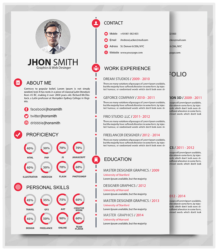 Best Professional Resume Templates (psd, Ai, Word)  Free