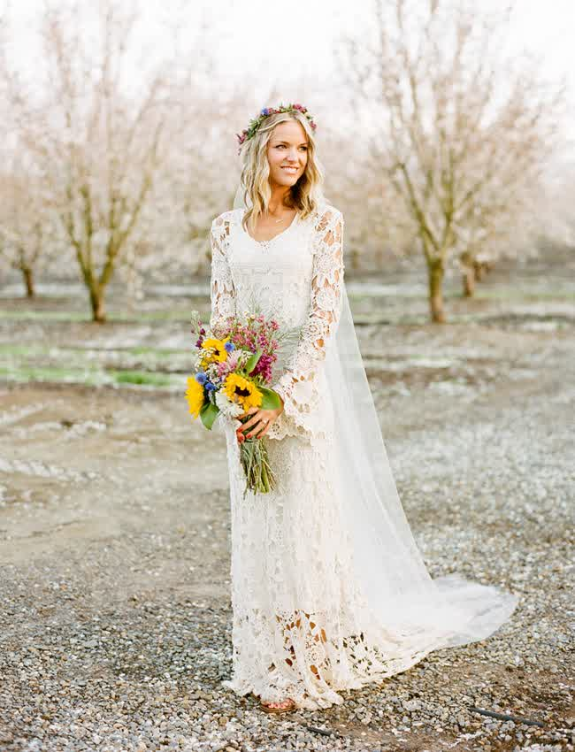 Western lace wedding dress - photo#20