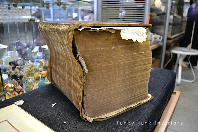 Massive old dictionary / Junkin' day at Granny and Grumpa's Antiques in Abbotsford, BC via FunkyJunkInteriors.net