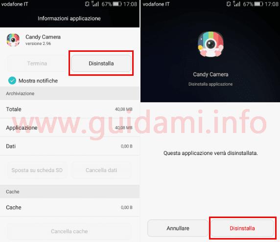 Android disinstallare applicazione