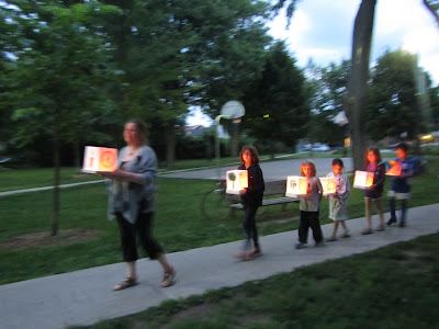 Hiroshima Day Kingston Peace Lantern Ceremony walking with lanterns