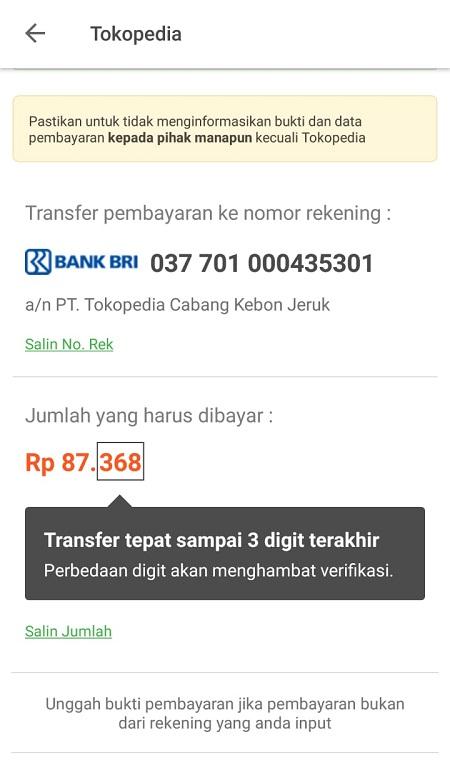 Nomor Rekening Pembayaran Tokopedia