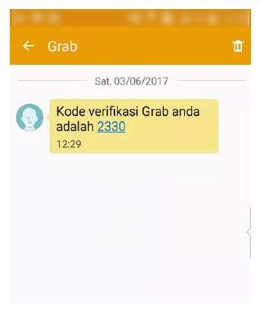 Kode Verifikasi Grab