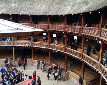 London notes: tiers of boxes at the Globe Theatre
