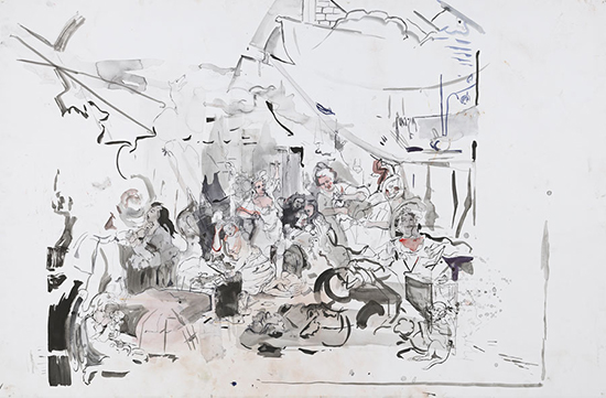 Cecily Brown, contemporary drawing, Strolling Actresses, Drawing Center