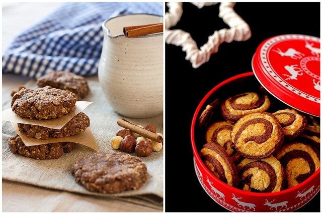 Ovseni keks sa lješnicima i spiralni keks sa čokoladom i bademom