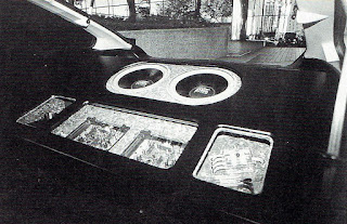 Black and White image of the back hatch area in Dustin Culton's competition Honda CRX.
