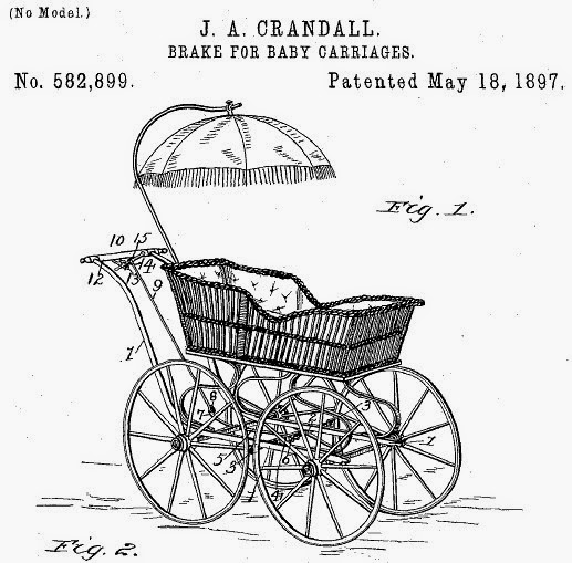 J.A. Crandall. Brake for baby carriages. US Patent 582899. Patented May 18, 1897.