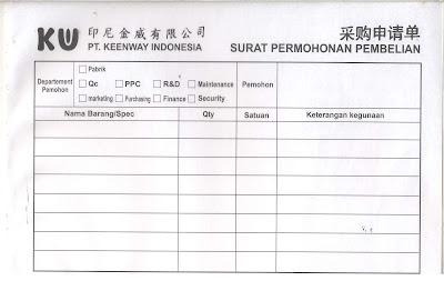 Contoh Form Permohonan Pembelian