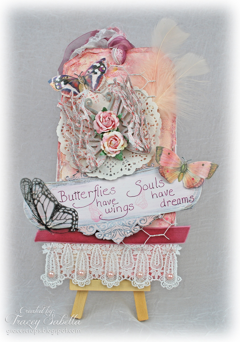 """Souls Have Dreams"" tag by Tracey Sabella for Leaky Shed Studio & Altered Pages. Butterflies, Lace"