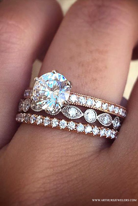 Engagement Ring With 2 Wedding Bands 59 Marvelous Sylvie Diamond Ring with