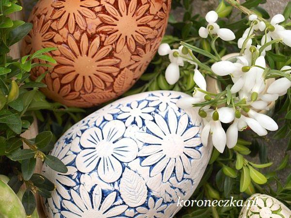 Ceramiczne jaja pisanki - w kwiatki