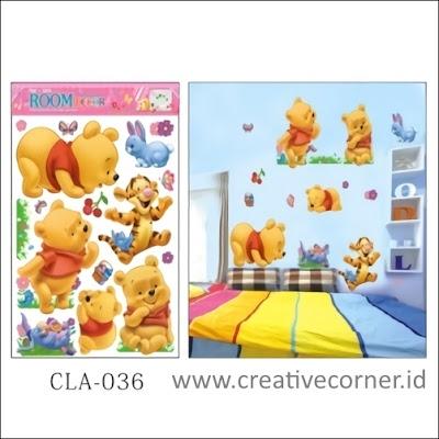 Wall Sticker 3D / Stiker Dinding 3D Motif Winnie The Pooh (CLA-036)