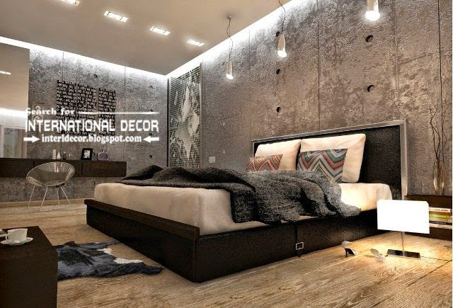 Suspended ceiling designs for bedroom in loft style