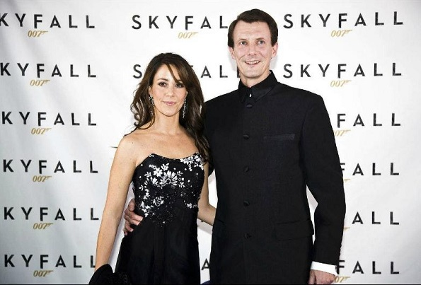 Princess Marie and Prince Joachim at the film premiere of Skyfall. Princess Marie wore the dress from the pre-wedding party in Monaco last summer.