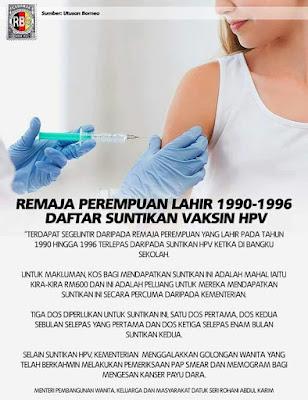 Suntikan Vaksin HPV - FREE !!
