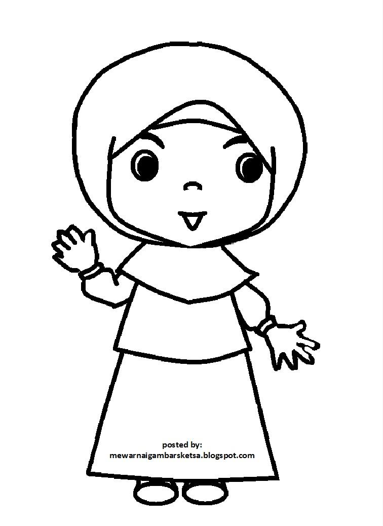 Mewarnai Gambar Sketsa Kartun Anak Muslimah 75 Muslim