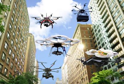 imagen ilustrativa de varios drones sobrevolando el cielo de una ciudad