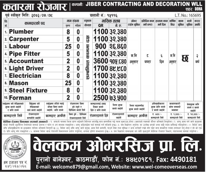 Jobs For Nepali In JIBER CONTRACTING & DECORATION WLL, QATAR Salary -Rs.1,00,000/