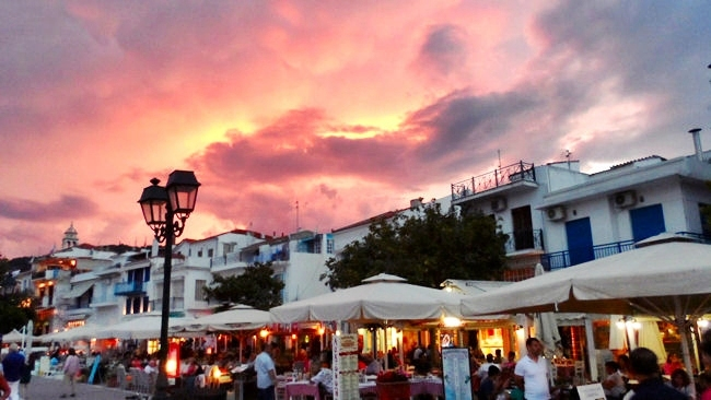 Skiathos island orange red sky