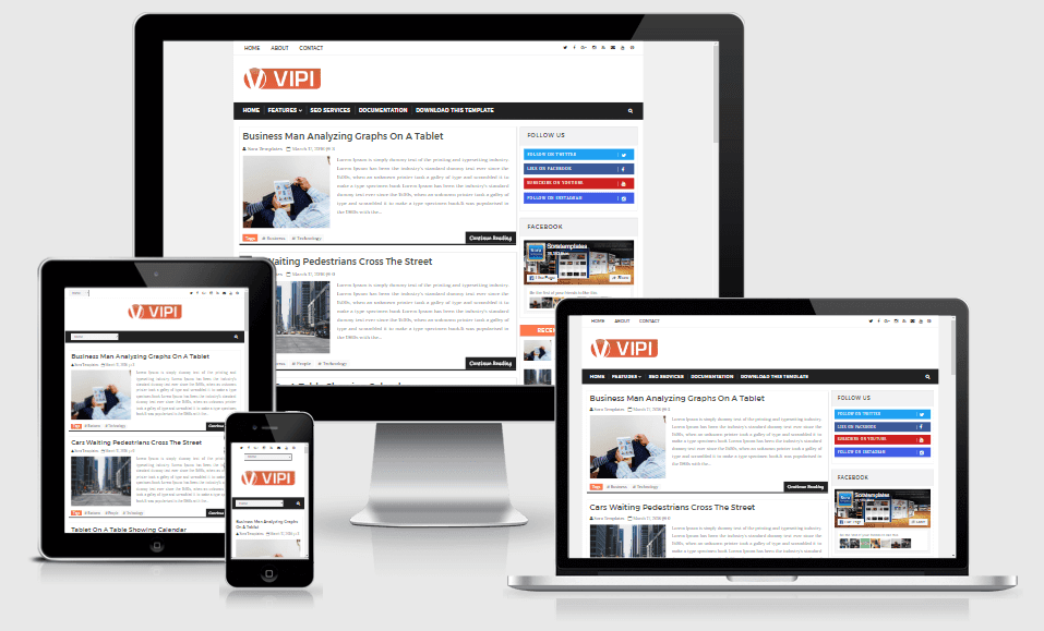 VIPI - Responsive Personal Blog Blogger Template