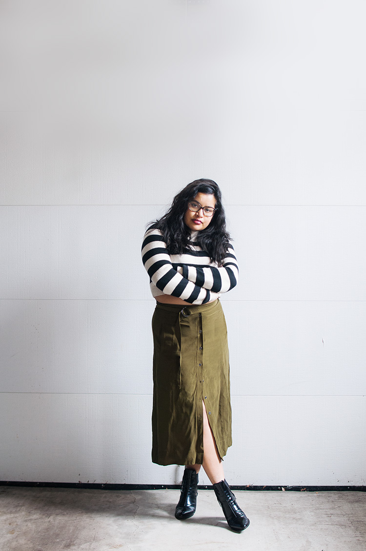 button down skirt, military green, loft midi skirt, midi skirt, striped cropped sweater, forever 21, zara patent booties