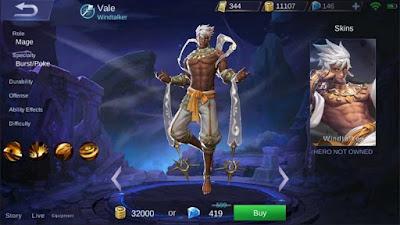 Hero Vale Sang Pengendali Angin Adik Valir Mobile Legends
