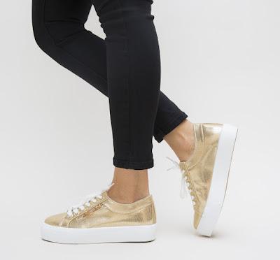 pantofi sport dama aurii cu talpa groasa alba ieftini