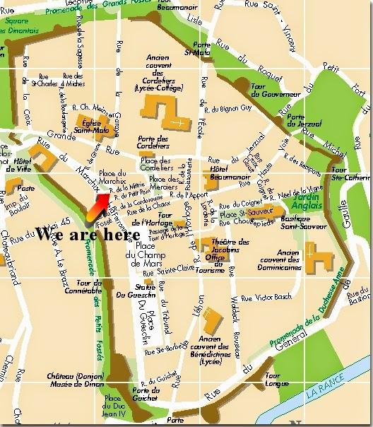 Mapa de intramuros de Dinan.