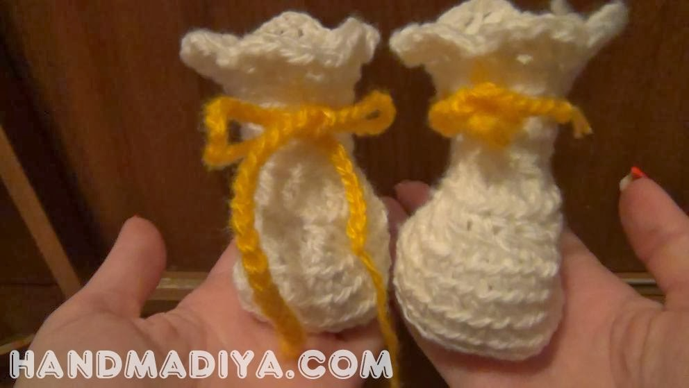 Crochet - Baby's bootees step-by-step DIY