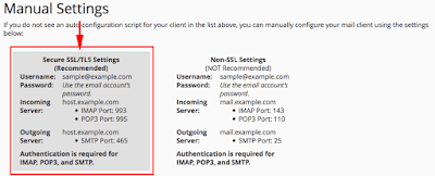 secure ssl settings for gmail configuration