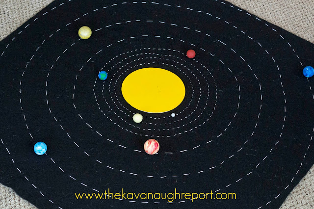DIY Solar System Map - this Montessori inspired felt map is a great way to teach children about the solar system in a concrete way. With individual planets and orbits children can learn how the solar system is organized as they study it!