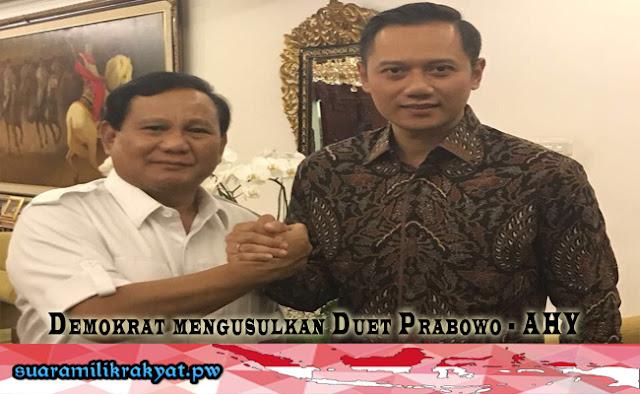 Demokrat mengusulkan Duet Prabowo - AHY