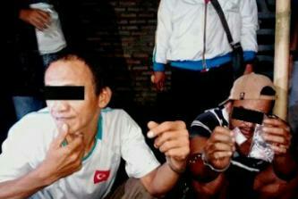 Dua dari tiga tersangka narkoba di Asahan.