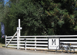 Best Buddies banner and my bike at the entrance to the MacMurray Ranch, Healdsburg, California