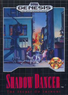 Portada del cartucho de Shadow Dancer para la Megadrive, Sega, 1990