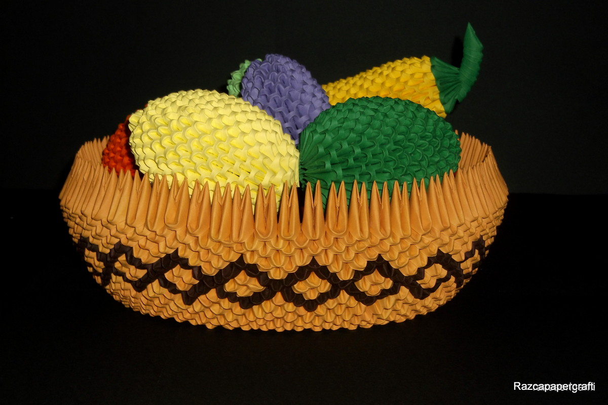 Razcapapercraft: 3D Origami fruit basket tutorial