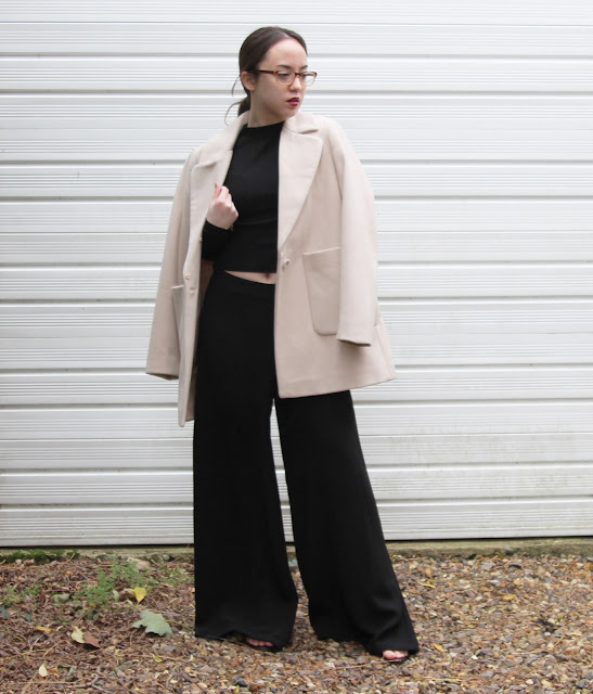 wearrior instinct autumn winter oversized coat high neck crop top beige black dark vampy revlon black cherry h&m ASOS Zara
