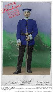 Soldat in Uniform des Großherzoglich Hessischen Train Bataillons 18 um 1905