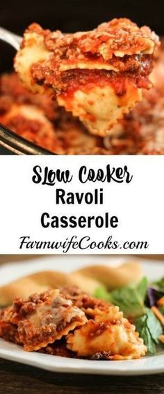 Slow Cooker Cheesy Ravioli Casserole  #slowcooker #casserole