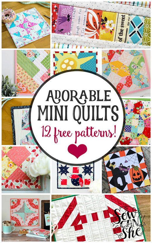 12 Adorable Mini Quilt Free Patterns collected By Caroline from Sew can she