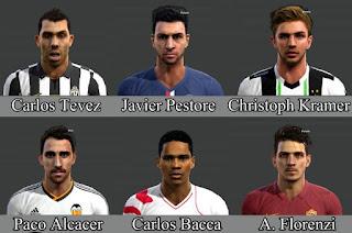 Faces: Carlos Tevez, Javier Pastore, Christoph Kramer, Paco Alcacer, Carlos Bacca, Florenzi, Pes 2013