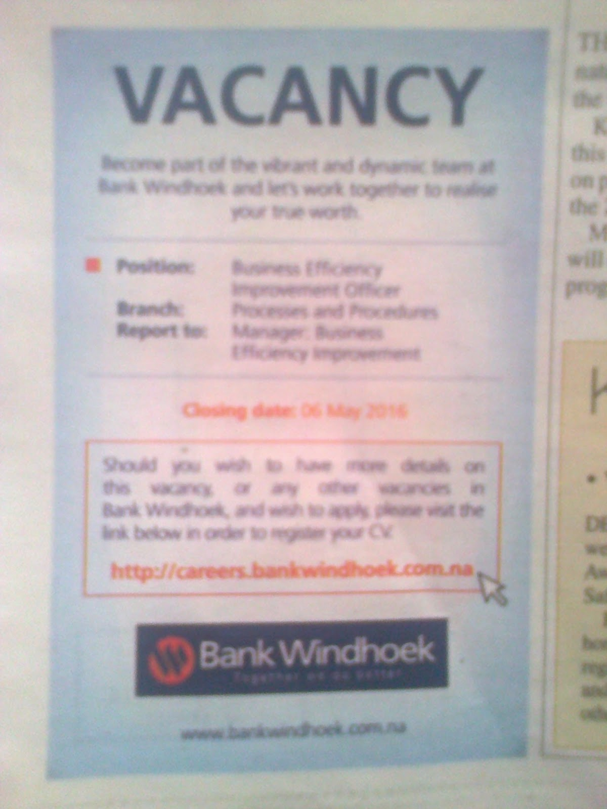 jobs in namibia  vacancies   personal assistant   bank