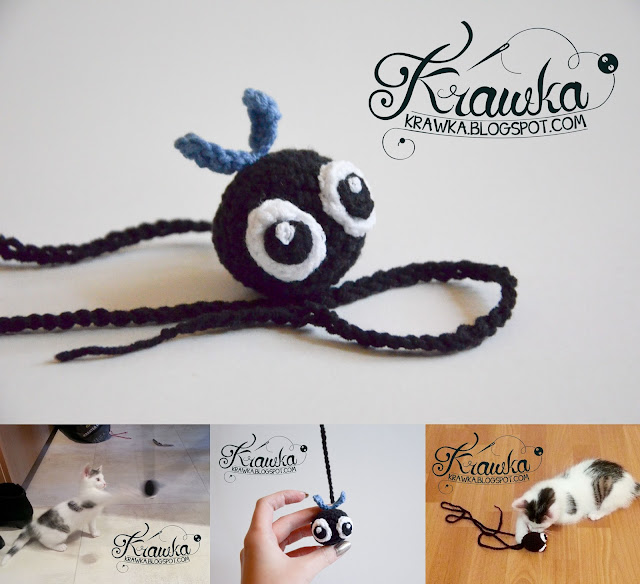 FLY crochet cat toy free pattern by Krawka
