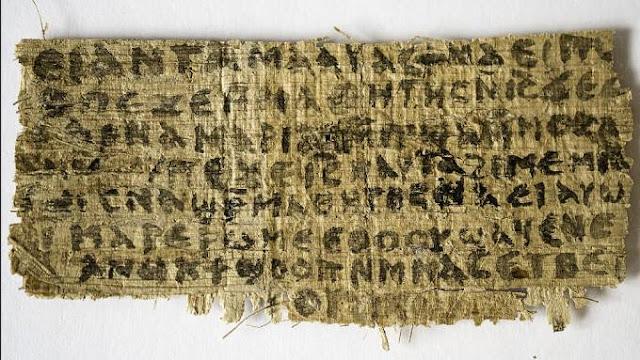 """O papiro traz o seguinte trecho, em copta: """"Jesus lhes disse, minha mulher..."""", inscrição que poderia indicar que Jesus havia se casado (Karen L. King/VEJA)"""