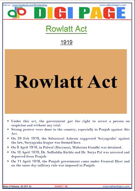 DP - Rowlatt Act 1919  - General Studies - 15 - Oct - 2016